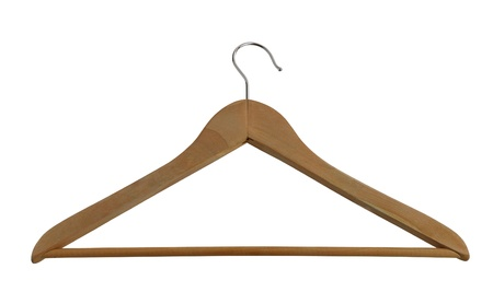Classic wooden closet hanger with metallic hook isolated on white background