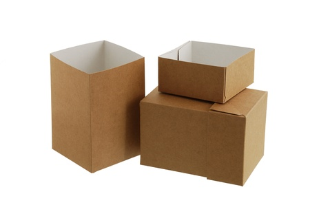 Two simple brown carton boxes one opened and another closed on white background with shadow