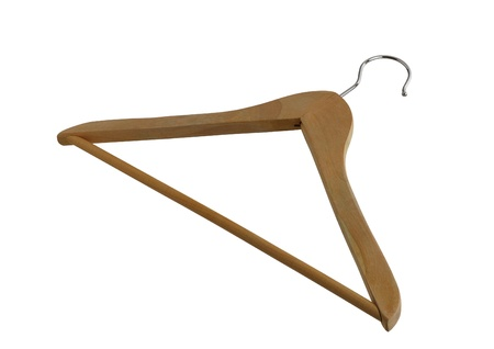 Simple wooden closet hanger with metallic hook isolated on white background Stock Photo