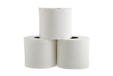 Three rolls of toilet paper formed in pyramid isolated on white background