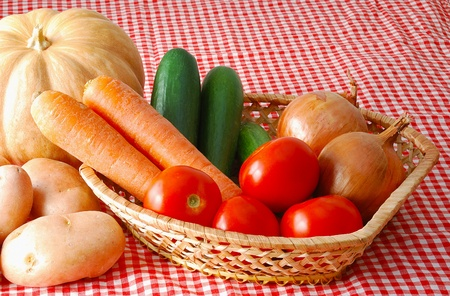 Harvested vegetables mix including  carrot, tomatoes, potatoes, onion, cucumbers and pumpkin on red-white tablecloth Stock Photo