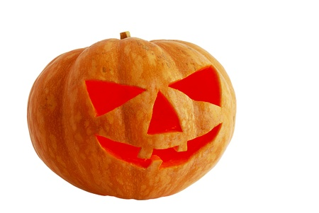 Halloween jack o lantern lighted inside isolated on white background photo