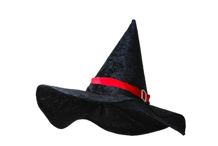 pointy hat: Black witch hat with red strip isolated on white background
