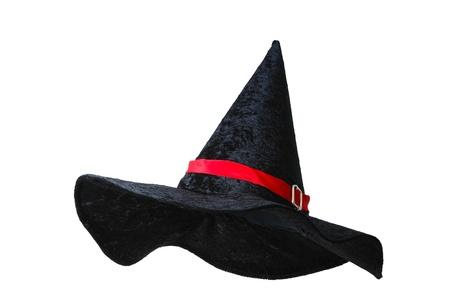 sombrero de mago: Sombrero de bruja negro con franja roja sobre fondo blanco Foto de archivo