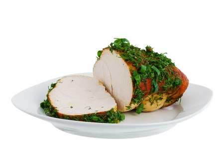 Grilled turkey breast on plate isolated on white background Stock Photo - 11265925