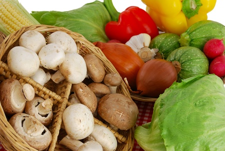 Mushrooms and vegetables mix including  corn, radish, sweet peppers, garlic, onion, lettuce  and squash