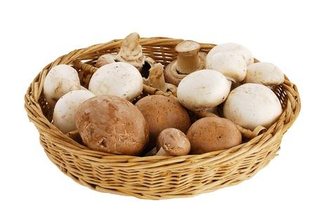 Champignon and portobello mushroom mix in straw basket isolated on white background
