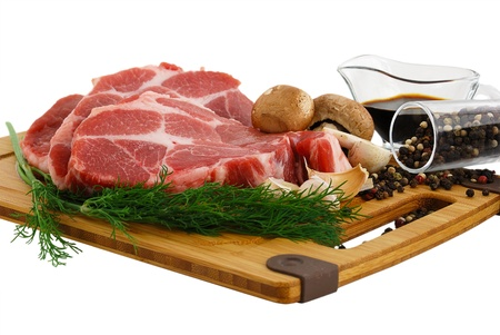 Raw steak with portobello mushrooms, pepper and soy sauce on cutting board isolated on white background  Stock Photo