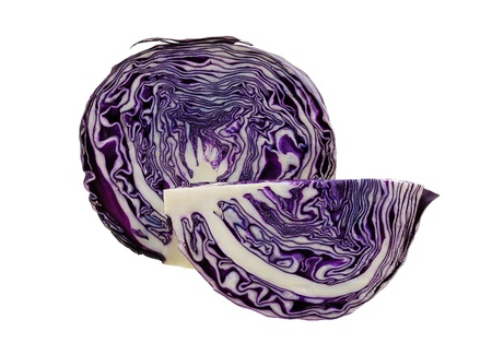 Red cabbage sliced isolated on white background