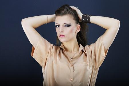 harming: beautiful girl young girl model brunette