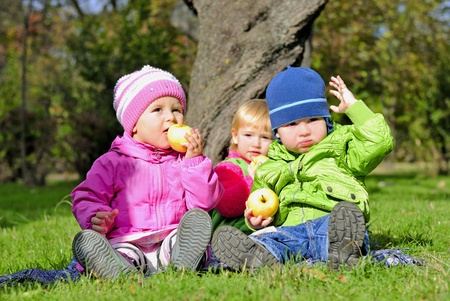 Three small children sit on a green clearing eat apples Stock Photo - 13493091