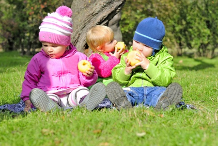 Three small children sit on a green clearing eat apples  photo