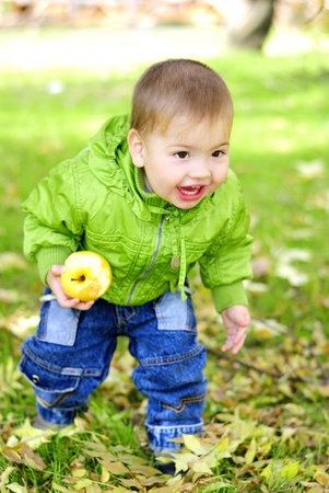 The small beautiful boy walks on a green glade with an apple Stock Photo - 13492232