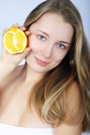 younger: younger beautiful girl with citrus fruit