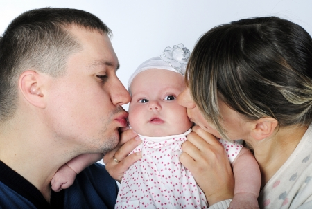 lucky making look younger family with child in aspic on white background