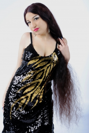 making look younger beautiful gypsy with long hair  photo