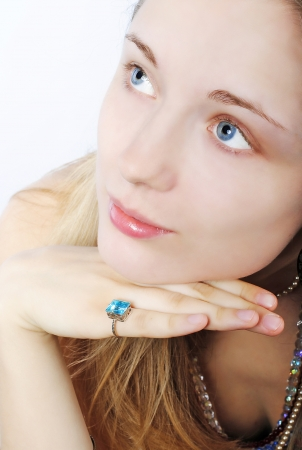 frac12: Portrait of the beautiful girl in costume jewellery