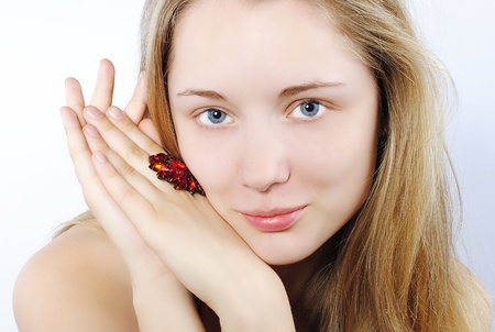 costume jewellery: Portrait of the beautiful girl in costume jewellery