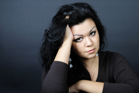 cogitations: younger beautiful girl with black climbing hair