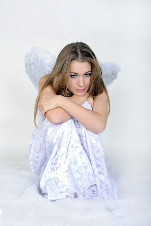 attentiveness: The beautiful girl an angel with wings