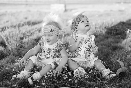 sisters twins for a walk photo