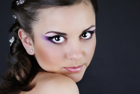 portrait of a beautiful girl with professional makeup