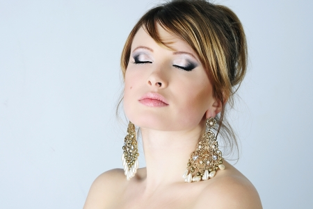 beautiful young woman with professional makeup  Stock Photo