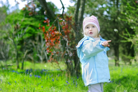 little girl on green grass in the spring in the park for a walk photo