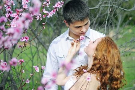 beautiful young couple in love of pink flowering trees