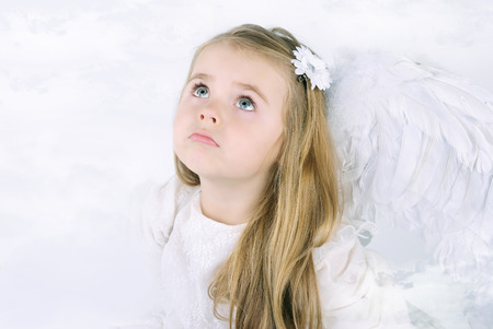 holiday prayer book: A beautiful little girl angel with a book