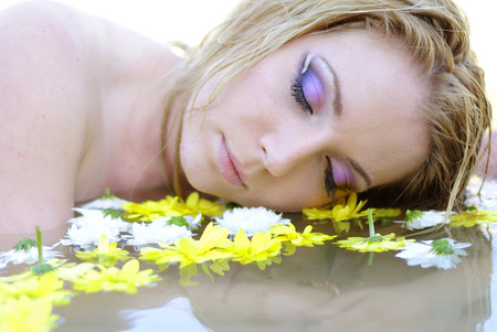 furlough: beautiful girl blonde in water colour Stock Photo