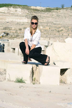 black pants: stylish girl in black pants and white shirt
