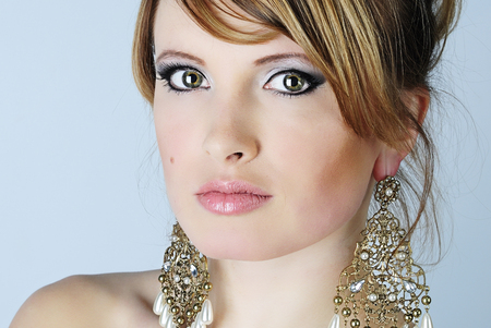 beautiful young woman with professional makeup