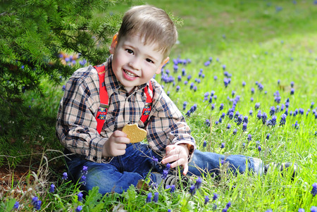 little boy on a green meadow with flowers