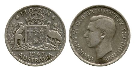 dominion: florin, Australia, Georg Sixth, 1947 Stock Photo