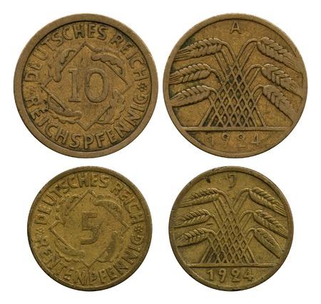 reich: five and ten pfennigs, German Reich, 1924