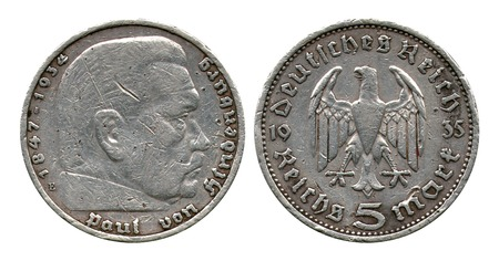 reich: five marks, German Reich, Gindenburg, 1935