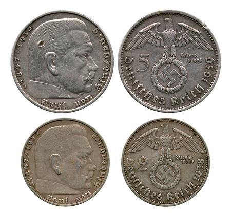 reich: two and five marks, German Reich, Gindenburg, 1938-1939