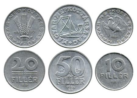 fillers: twenty, fifty, ten fillers, Hungarian Public Republic, 1977-1984 Stock Photo