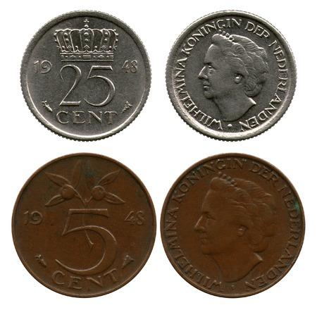 five cents: twenty five and five cents, Netherlands, queen Wilhelmina