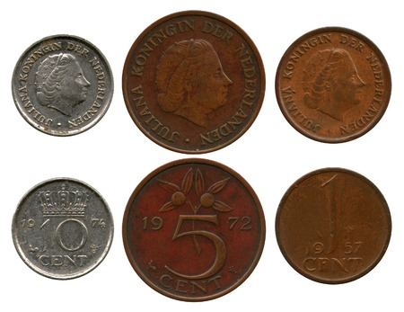 juliana: one, five, ten cent, Netherlands, queen Juliana Stock Photo