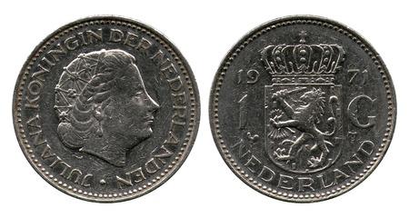 gulden: one gulden, Netherlands, queen Juliana, 1971 Stock Photo