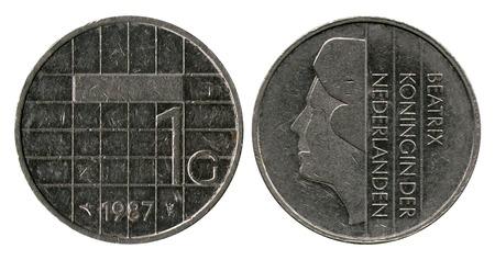 gulden: one gulden, Netherlands, queen Beatrix, 1987