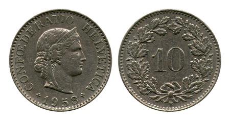 helvetia: ten centimes, Switzerland, 1958