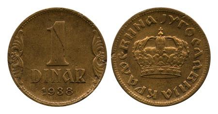 dinar: one dinar, Yugoslavia, 1938