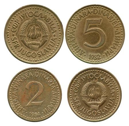 numismatics: five and two dinar, Socialist Federative Republic Yugoslavia, 1982-1984
