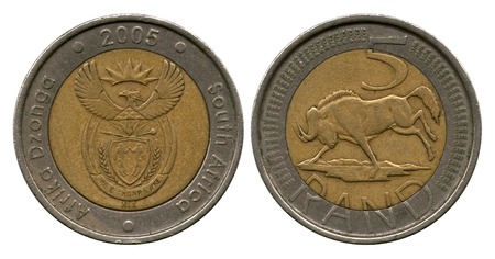 rand: five rand, South Africa, 2005