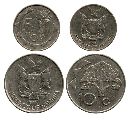 five cents: five cents and dime, Republic Namibia, 1993-1998 Stock Photo