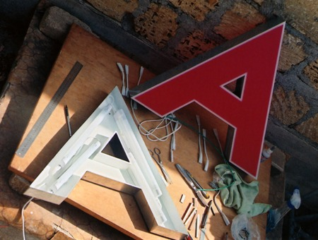 encirclement: three-dementional letter  A  lighted
