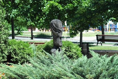 A wooden sculpture is in a city park